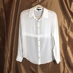 White button down sheer blouse